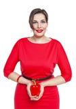 Mooi plus geïsoleerde groottevrouw met Spaanse peper royalty-vrije stock foto's