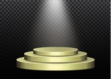 Mooi podium op donkere achtergrond met inschrijving podiumwinnaars met verstralers Schijnwerper Verlichting Vector vector illustratie