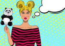 Mooi pop-artmeisje met ballon stock illustratie