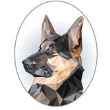 Mooi portret in ovaal kader van Duitse herder in lage polystijl stock illustratie