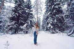 Mooi portret van een meisje in de winterbos Royalty-vrije Stock Afbeelding