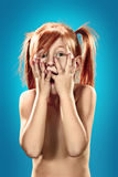 Mooi portret van een verrast meisje Royalty-vrije Stock Afbeelding