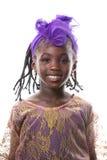 Mooi portret van het gelukkige meisje glimlachen Geïsoleerde Stock Foto's