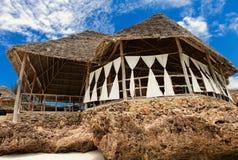 Mooi restaurant bij oceanfront Tanzania, Zanzibar Islan stock foto's