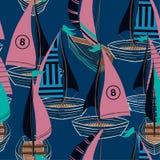 Mooi retro helder de Zomer Naadloos patroon in vectorhand getrokken boot op het oceaanontwerp voor manier, stof, Web, behang, en stock illustratie