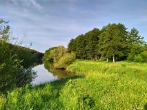 Mooi rivier, open plek en bos royalty-vrije stock fotografie