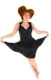 Mooi rood haired meisje in zwarte kleding Royalty-vrije Stock Fotografie