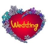 Mooi rood hart met van letters voorzien gemaakt van sneeuwvlokken Royalty-vrije Stock Afbeelding