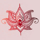 Mooi rood oosters ornament - idee van tatoegering Stock Afbeelding