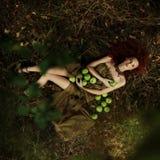 Mooi roodharig meisje in de appelboomgaard Royalty-vrije Stock Afbeeldingen