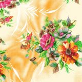 Mooi roosterpatroon met aardige waterverf digitale bloemen royalty-vrije illustratie