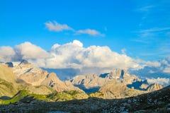 Mooi rotsachtig de bergenlandschap van Dolomietalpen Royalty-vrije Stock Afbeeldingen