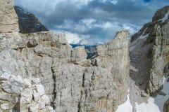 Mooi rotsachtig de bergenlandschap van Dolomietalpen Royalty-vrije Stock Afbeelding