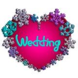 Mooi roze hart met van letters voorzien gemaakt van sneeuwvlokken Stock Afbeeldingen