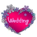 Mooi roze hart met van letters voorzien gemaakt van sneeuwvlokken Stock Foto
