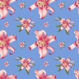 Mooi roze lelie naadloos patroon Boeket van bloemen Bloemendruk Tellerstekening royalty-vrije illustratie