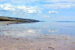 Mooi Salt Lake Tuz Golu in Turkije stock fotografie