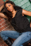 Mooi Sexy Afrikaans Amerikaans Zwarte die toevallige zwarte dragen Stock Foto's