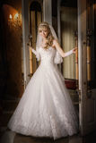 Mooi sexy bruidblonde in een witte kleding Stock Afbeelding