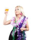 Mooi sexy meisje het vieren Nieuwjaar Stock Afbeelding