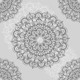 Mooi sier naadloos patroon met mandalaillusrations Royalty-vrije Stock Afbeeldingen