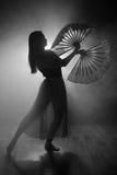 Mooi silhouet van een meisje die elegant in rook en mist dansen stock foto's