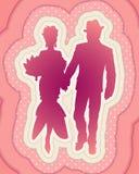 Mooi silhouet van elegant paar royalty-vrije illustratie