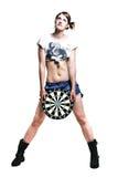 Mooi slank meisje met een naakte maag die een doel houden royalty-vrije stock fotografie