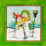 Mooi sneeuwmanpatroon op servet Stock Foto's