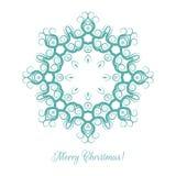 Mooi sneeuwvlokpatroon Decoratief ornament voor Kerstkaart mandala Vector illustratie Stock Foto's