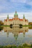 Mooi stadhuis met vijver Stock Fotografie