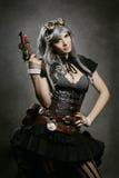 Mooi Steampunk-Vrouwenportret Stock Afbeelding