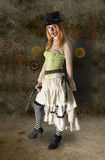 Mooi Steampunk-Vrouwenportret met Grunge-Bac Royalty-vrije Stock Afbeelding