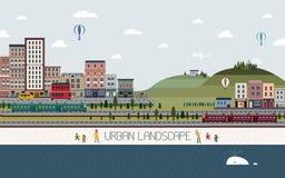 Mooi stedelijk landschap in vlak ontwerp Stock Afbeelding