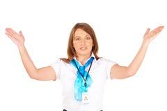 Mooi of stewardess die veiligheid voorstellen instr stock afbeeldingen