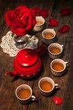 Mooi stilleven met roze thee stock foto's