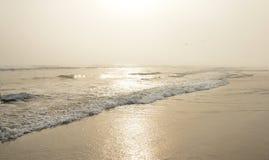 Mooi strand bij zonsondergang Royalty-vrije Stock Foto's