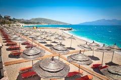 Mooi strand in Saranda, Albanië stock afbeeldingen