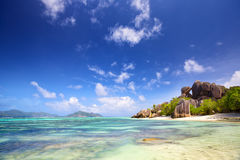 mooi strand in Seychellen Stock Afbeeldingen
