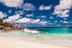 Mooi strand in Seychellen Stock Fotografie