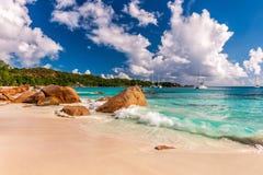 Mooi strand in Seychellen Royalty-vrije Stock Afbeeldingen