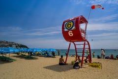 Mooi Strand van Haeundae, Busanm, Korea royalty-vrije stock afbeelding