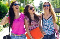 Mooi studentenmeisje met sommige vrienden na school Stock Afbeeldingen