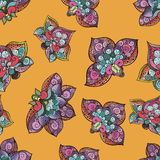 Mooi sylized bloemen naadloos patroon voor uw zaken Fantazybloemen op juiste gele achtergrond Royalty-vrije Stock Afbeeldingen