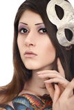 Mooi tatoegeringsmodel met masker Royalty-vrije Stock Afbeeldingen