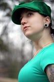 Mooi tatooed vrouw, het doordringen Stock Afbeelding