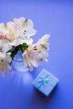 Mooi teder boeket van Alstroemeria met blauwe giftdoos Royalty-vrije Stock Afbeelding