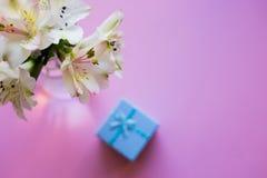 Mooi teder boeket van Alstroemeria met blauwe giftdoos Stock Afbeeldingen