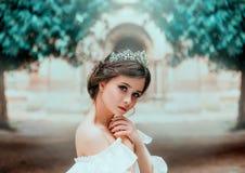 Mooi teder meisje met perfecte huid en donkere prachtige ogen, het prachtige werk van kapper en verzameld bruin haar royalty-vrije stock foto