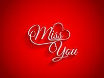Mooi tekstontwerp van Misser You op rode kleurenbac Stock Afbeelding